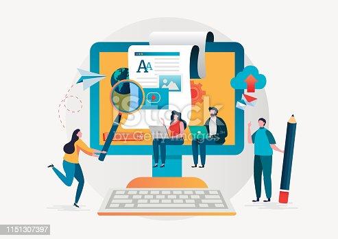 Blogging. Freelance. Creative writing. Copy writer. Content management. Flat cartoon miniature  illustration vector graphic on white background.