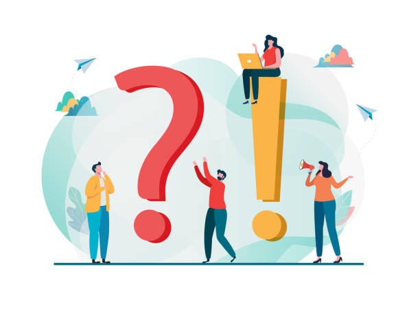 flat cartoon character Frequently asked questions concept. Question answer metaphor. Vector illustration background. Flat cartoon character graphic design. Landing page template,banner,flyer,poster,web page faq stock illustrations