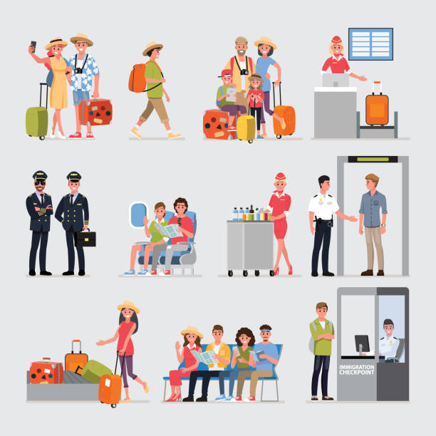 flat cartoon character with travel set, illustration infographics airport.vector cartoon set. travel concept. - tourist stock illustrations