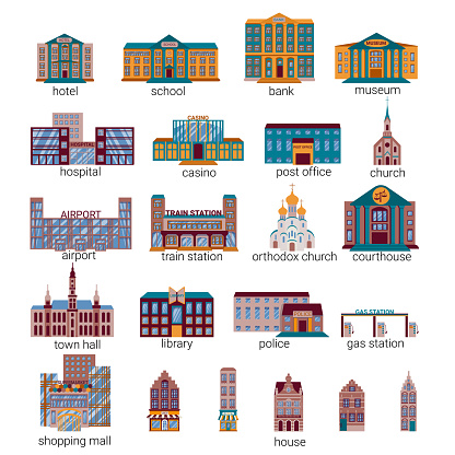 Flat cartoon city buildings. City constructions Infographic set. Vector illustration. Residential buildings with shops, shopping center, school, airport and other colored icons.