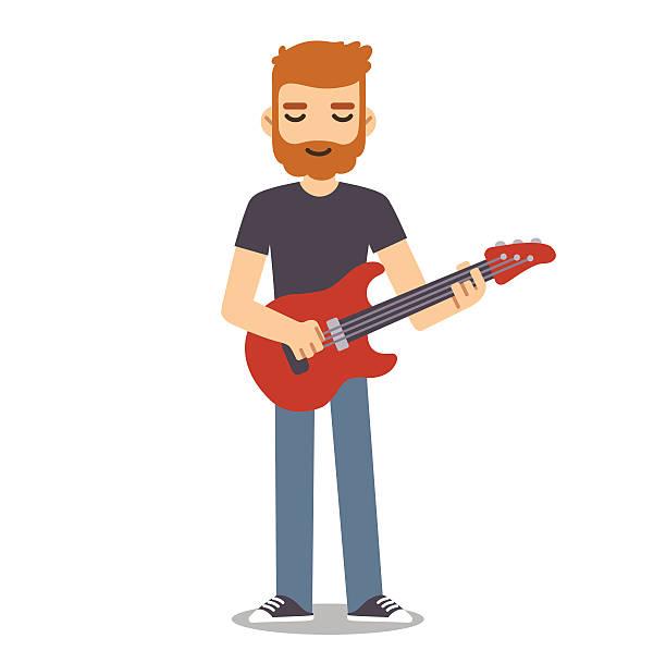 flat cartoon guitarist - redhead stock illustrations
