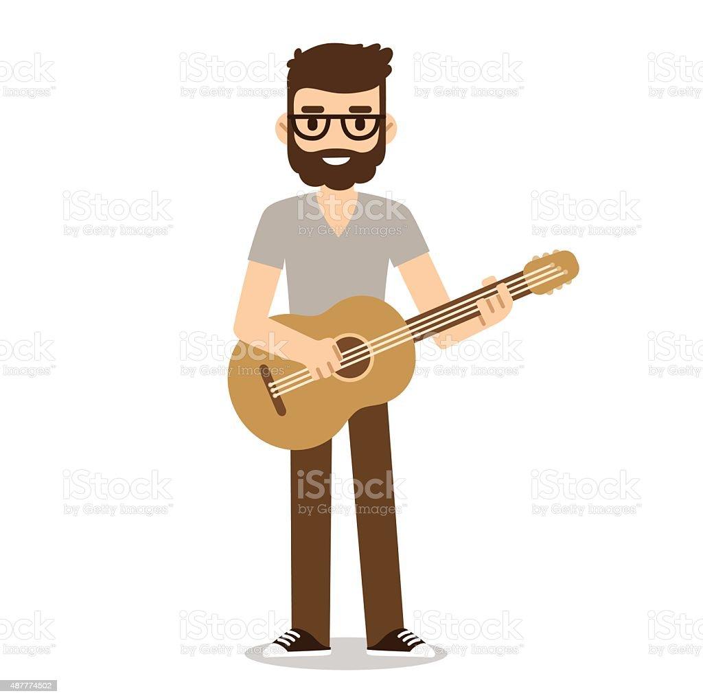 Flat cartoon guitarist vector art illustration