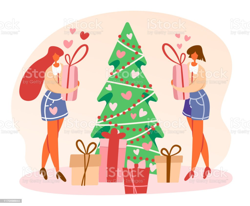 Flat Cartoon Lesbian Couple Standing Near Decorated Christmas Tree And Holding Gift Boxes Preparing For Winter Holidays Vector Isolated Illustration