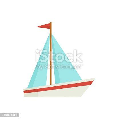 istock Flat cartoon little sailing ship, boat, sailboat 830496096