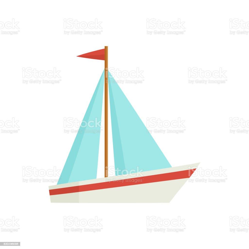 Plat de dessin animé petit voilier, bateau, voilier - Illustration vectorielle