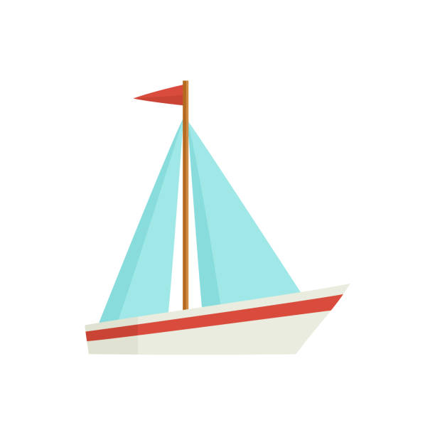 Flat cartoon little sailing ship, boat, sailboat vector art illustration