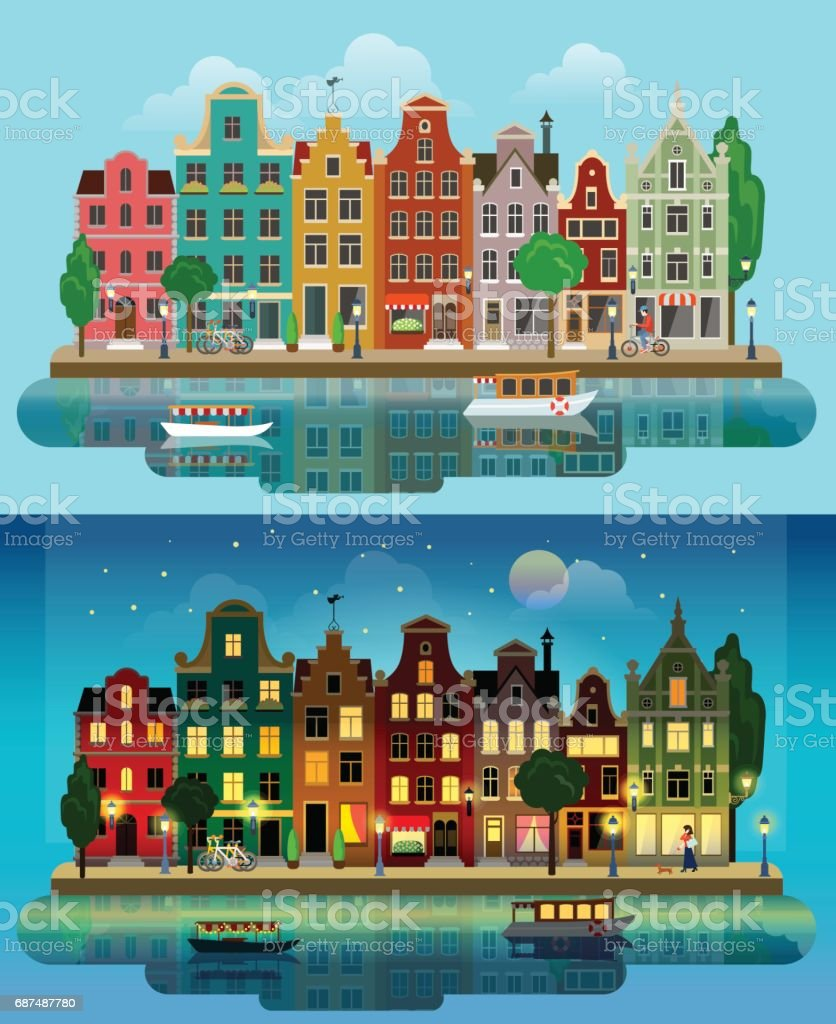 Flat cartoon multicolor colorful historic buildings city town suburb set day and sunset night Amsterdam Holland. River canal channel boat embankment street bicycles. Urban life lifestyle collection. – Vektorgrafik