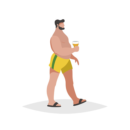 Flat cartoon overweight  chubby man on the beach. Wearing yellow shorts and black flip flops, holding beer. Trendy style vector illustration isolated on white background.