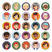 Set of 25 flat cartoon round avatars on color circles. Casual people. Clipping paths included.
