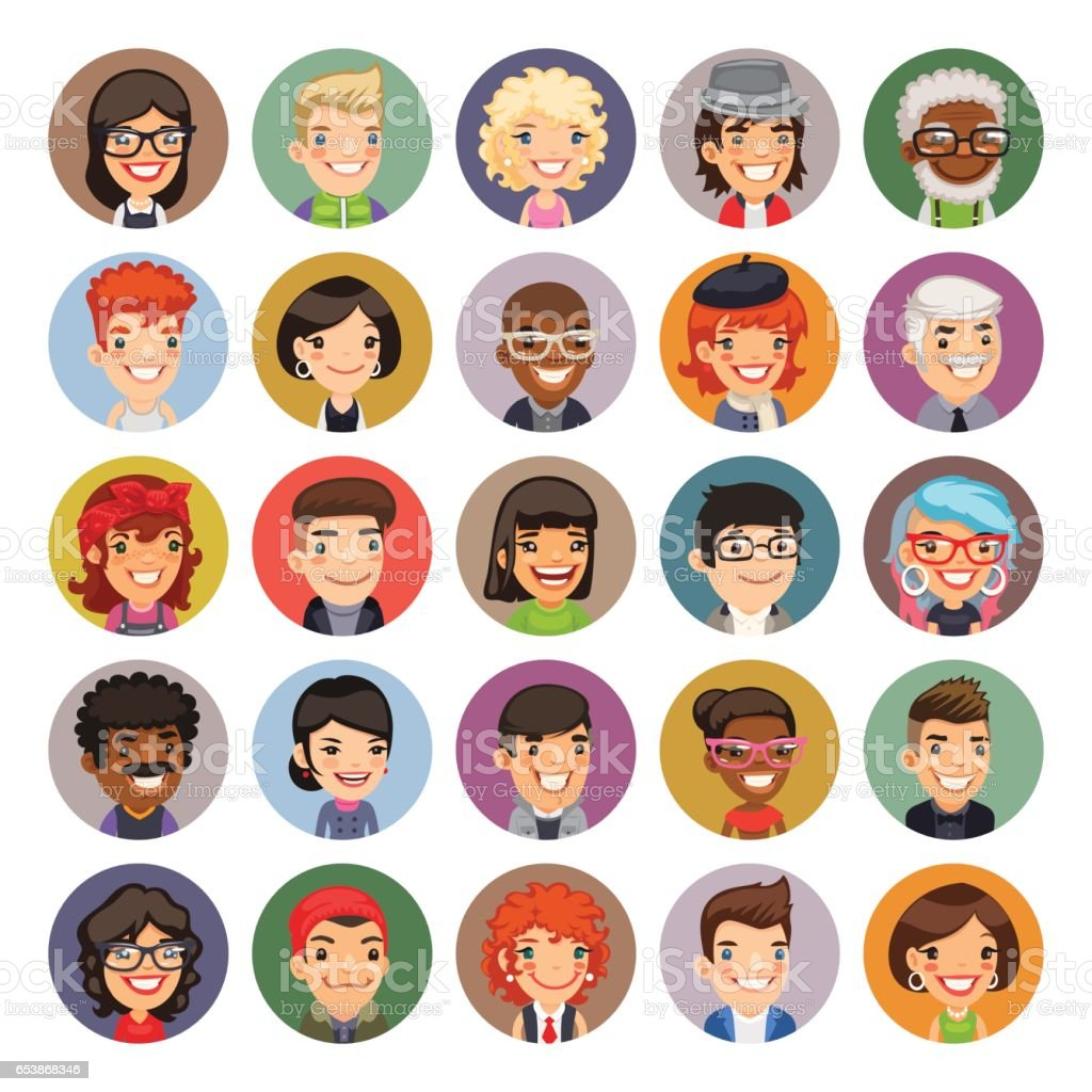 Flat Cartoon Round Avatars on Color - illustrazione arte vettoriale