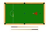 Flat cartoon snooker table, billiard ball set, brown wooden table and cue isolated on white background, vector illustration