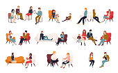 Flat cartoon vector illustration. Group or family psychotherapy. Collection of men and women or married couples sitting on chairs or lying on sofa and talking to psychotherapist or psychologist.
