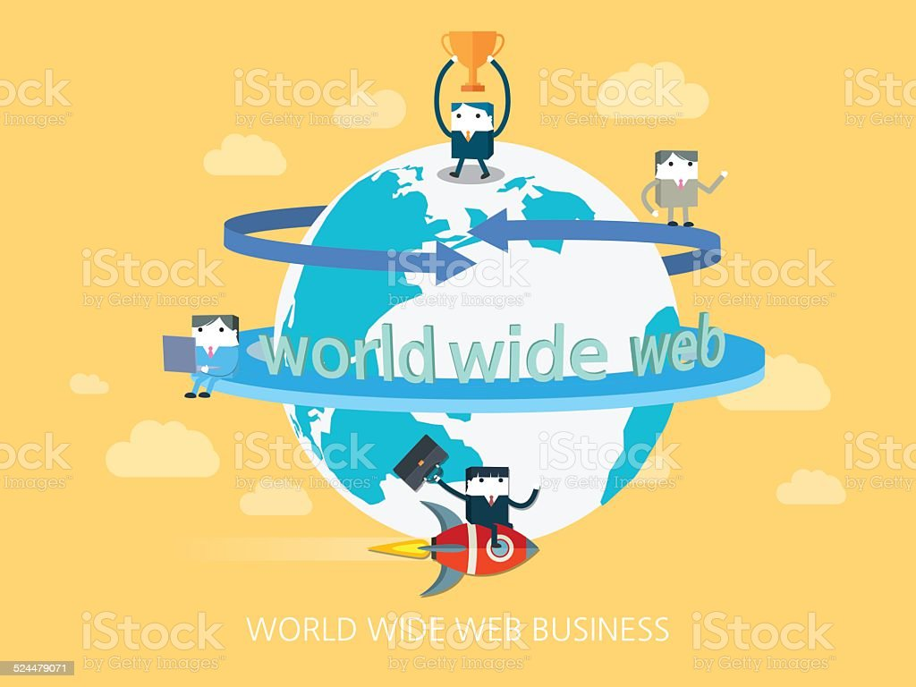 flat character world wide web business concept illust vector art illustration