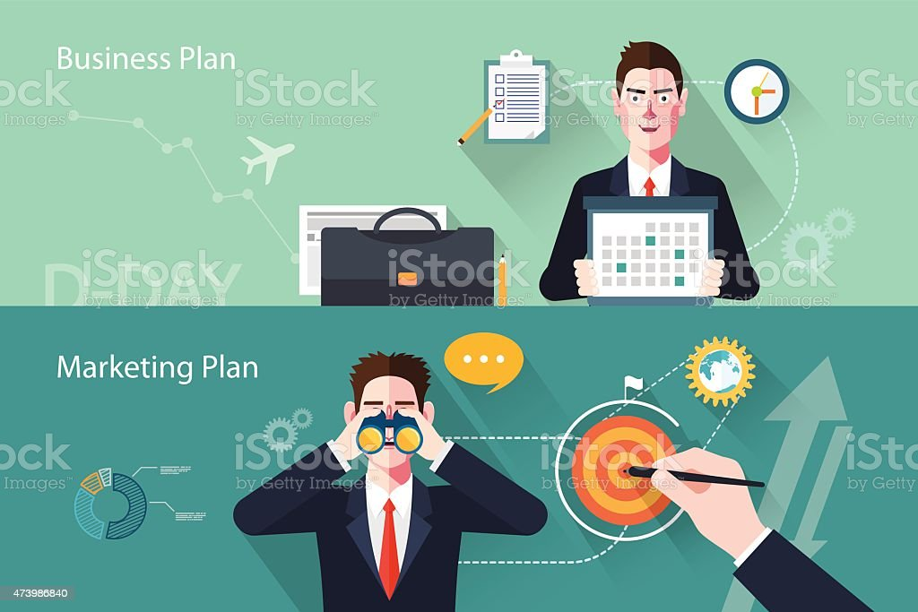 Flat characters of business plan concept illustrations vector art illustration