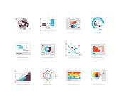 Flat icons including radar chart, pie chart, scatter chart, venn diagram etc.