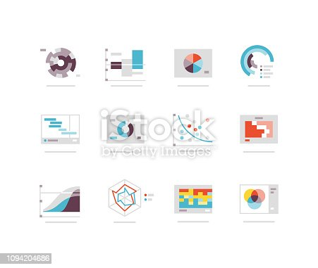 Flat icons including radar chart, pie chart, scatter chart, venn diagram etc.
