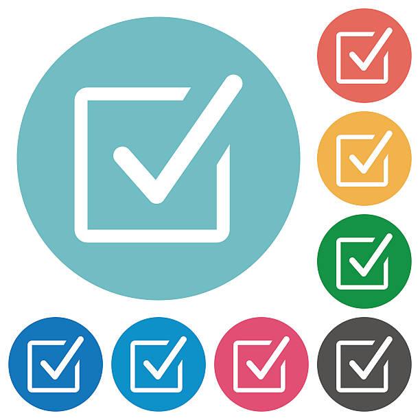 Flat checked box icons vector art illustration