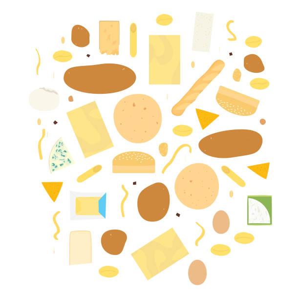 flache käse, eiern und sidedishes abbildungen - tortillas stock-grafiken, -clipart, -cartoons und -symbole