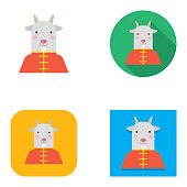 Flat Chinese New Year Cheongsam Goat Avatar | Kalaful series