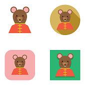Flat Chinese New Year Cheongsam Rat Avatar   Kalaful series