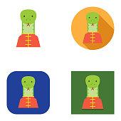 Flat Chinese New Year Cheongsam Snake Avatar | Kalaful series