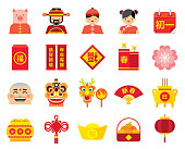 Flat Chinese New Year icon and avatar set for the year of the pig.