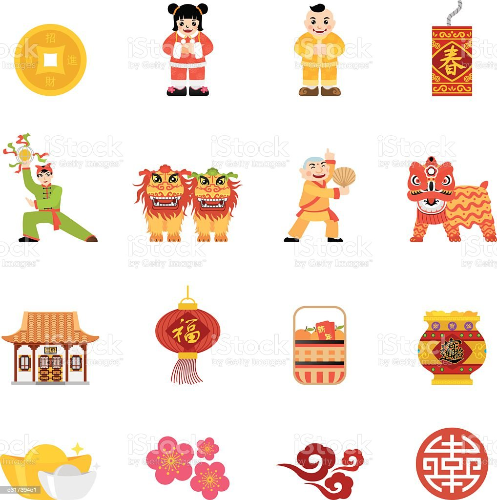 Flat Chinese New Year icons | Simpletoon series royalty-free flat chinese new year icons simpletoon series stock illustration - download image now