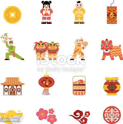 Simple, flat, cartoon style Chinese New Year icon set for your web page, interactive, presentation, print, and all sorts of design need.