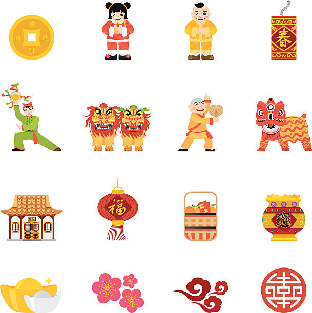 Flat Chinese New Year icons   Simpletoon series vector art illustration