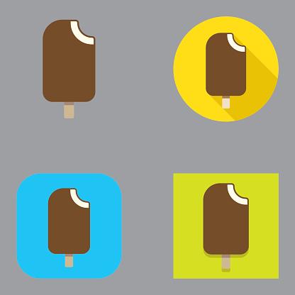 Flat Chocolate Ice Cream Bar icons   Kalaful series