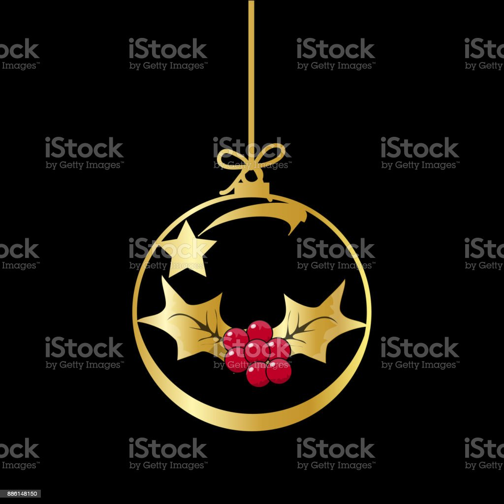 Flat christmas ball with bow and mistletoe vector gold bauble with flat christmas ball with bow and mistletoe vector gold bauble with gold and red holly buycottarizona Image collections