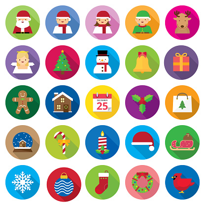 Flat Christmas Icons and Avatars | Kalaful series