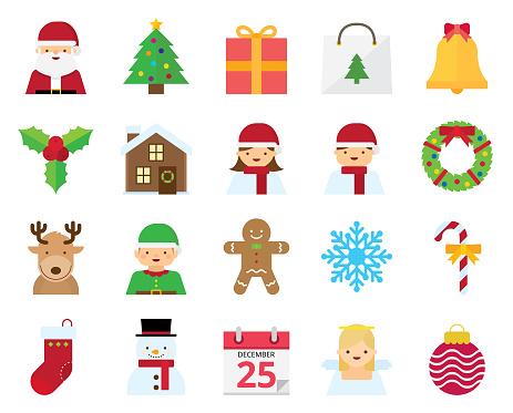 Flat Christmas Icons and Avatars   Kalaful series