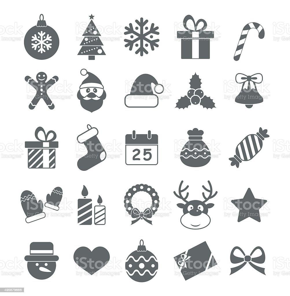 Flat Christmas Icons - Illustration vector art illustration