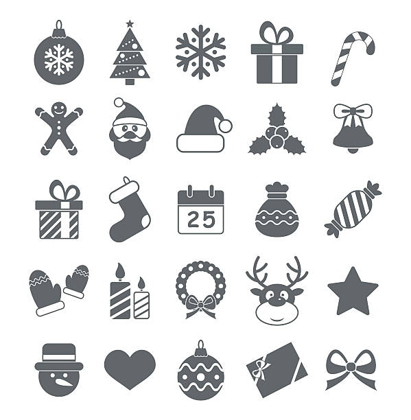 Flat Christmas Icons - Illustration vector art illustration