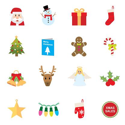 Flat Christmas icons   Simpletoon series
