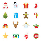 Set of 16 flat Christmas icons.