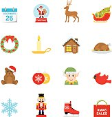 Simple, flat, cartoon style Christmas icon set for your web page, interactive, presentation, print, and all sorts of design need.