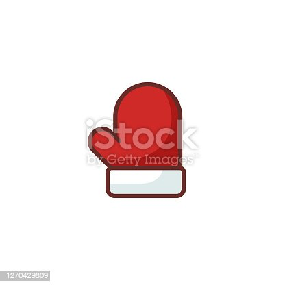 istock Flat Christmas Thumbs Up Glove Icon 1270429809