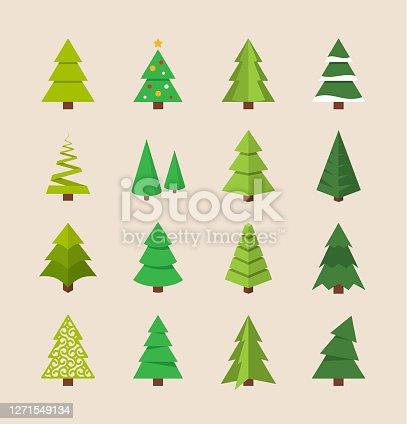 Vector illustration of flat christmas tree.