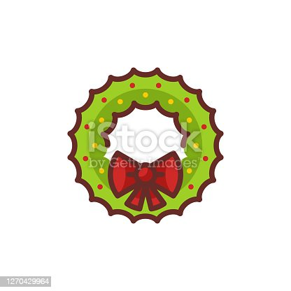 Vector illustration of christmas wreath with tied bow icon.