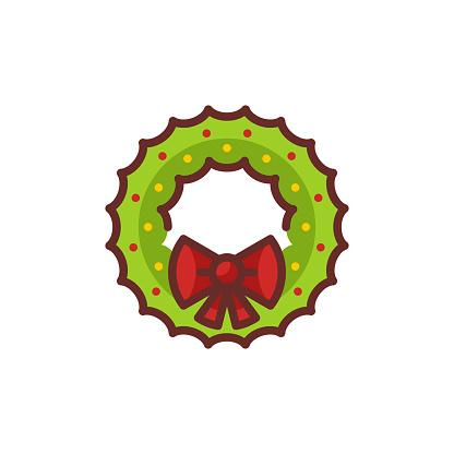 Flat Christmas Wreath Icon
