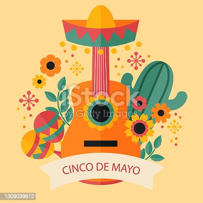 istock Flat Cinco de Mayo illustration Vector illustration 1309039512