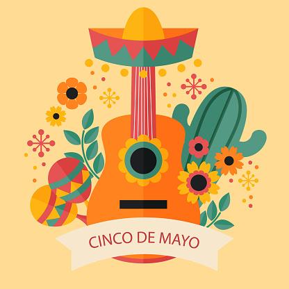 Flat Cinco de Mayo illustration Vector illustration