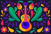 Flat cinco de mayo mexican background Vector illustration