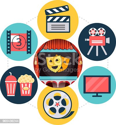 Flat Cinema Concept Stock Vector Art & More Images of Art Product 965436244