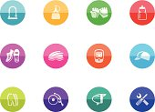 Flat Circle Icons - Bicycle Accessories