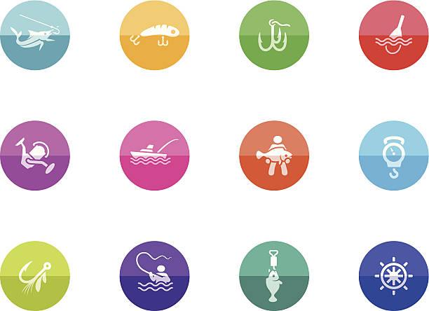 Flat Circle Icons - Fishing vector art illustration