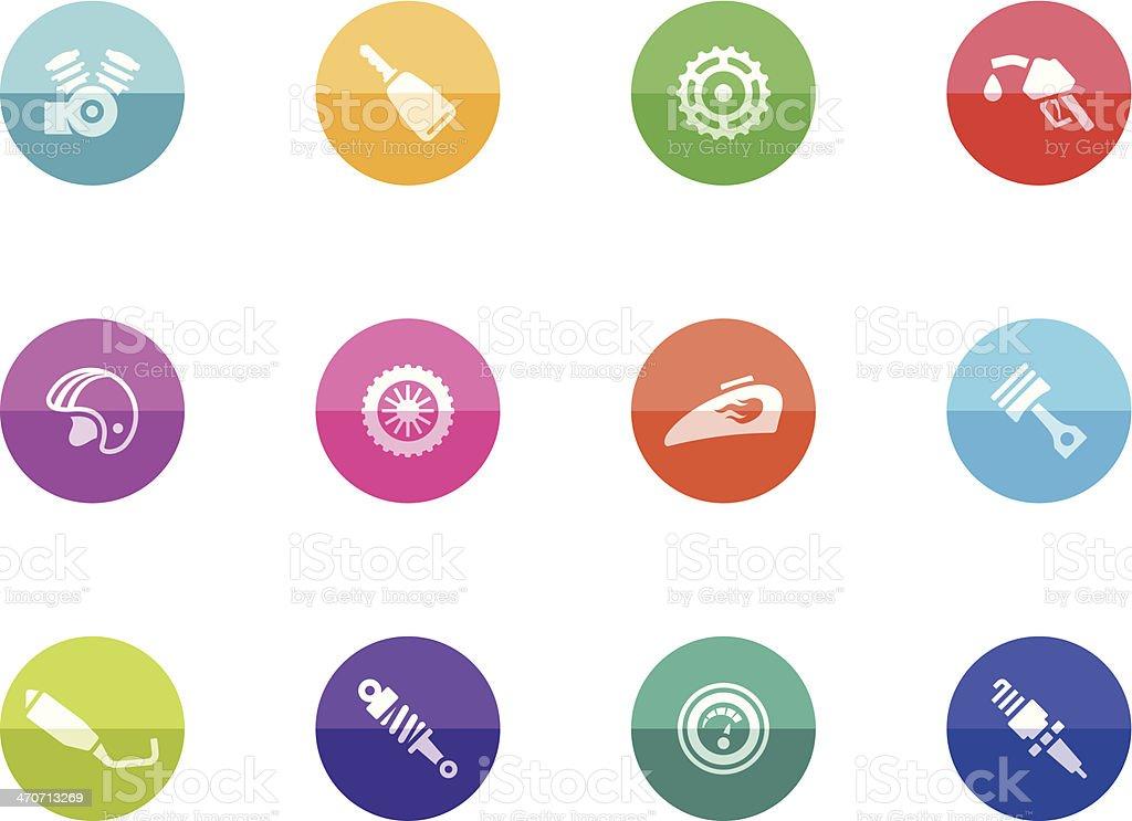 Flat Circle Icons - Motorcycle Parts royalty-free stock vector art