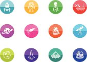 Flat Circle Icons - Space
